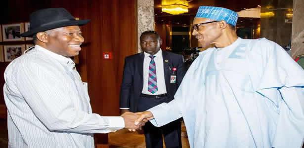 President Buhari salutes Goodluck Jonathan at 61